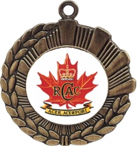 "1 7/8"" Cast Medal with 1"" insert of your choice with engraved 1 1/2"" disc on back, with your choice of v–neck ribbon."
