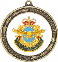 "2 5/8"" Die Cast Medal with 2"" insert of your choice with engraved 2"" disc on back, with your choice of v–neck ribbon."