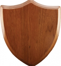 Shield Shape laminate plaque with engraved shield shaped aluminum plate.