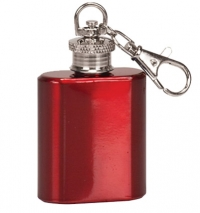 1oz Gloss Red Stainless Steel Flask Key Chain