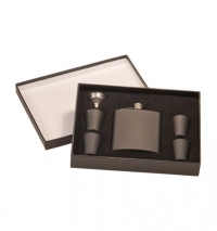 6oz Matte Black Flask Set in Black Presentation Box: Includes, 4 – 1oz cups and funnel.