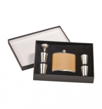 6oz Leather Flask Set in Presentation Box: Includes, 4 – 1oz cups and funnel.