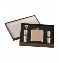 6oz Stainless Steel Flask Set in Presentation Box: Includes, 4 – 1oz cups and funnel.