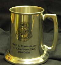 Glass Bottom Pewter Tankard 16 oz,  Bright FInish.