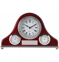 "Rosewood Piano Finish Clock,Thermometer and  Hygrometer, 4 3/4"" x 7.5"""