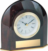 Rosewood Piano Finish Clock with engraved Black Brass plate.