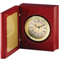 "Rosewood Piano Finish Book Clock  5 3/8"" x 8 1/4"""