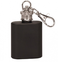 1oz Matte Black Stainless Steel Flask Key Chain