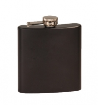 6oz Matte Black Laserable Stainless Steel Flask