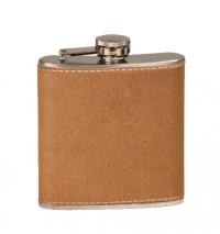 6oz Leather Laserable Stainless Steel Flask