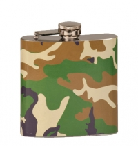 6oz Camo Laserable Stainless Steel Flask