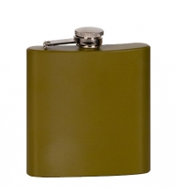 6oz Matte Green Laserable Stainless Steel Flask