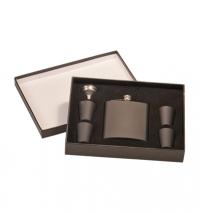 6oz Matte Black Flask Set in Black Presentation Box: Includes, 4 – 1oz cups and funnel.