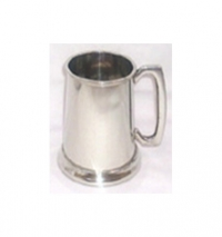 Glass Bottom Pewter Tankard 16oz, Bright Finish, engraves black