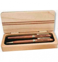 Double Pen and Pencil Set in a maple case.