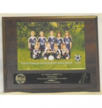 "Appreciation Plaque – 8"" x 10"" Cherrywood plaque with 5"" x 7"" photo and engraved black brass plate."